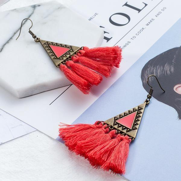 Bohemia tassel earring Charm Triangle Colorful women earrings