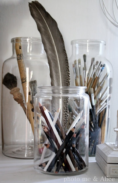 Amazing What Can Be Done With A Little Creativity: Office, Workshop, Idea, Workspace, Art Room, Glass Jars