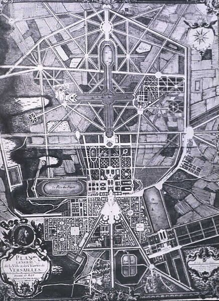 Plan of the gardens and parc of Versailles, designed by Andre le Notre c. 1600s