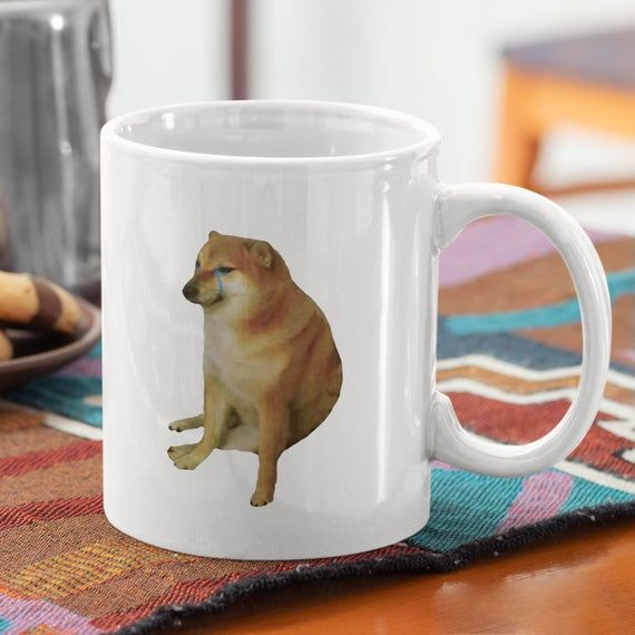 Cheems Crying Buff Doge Meme Coffee Tea Mug 11oz Latest Dank Etsy In 2021 Funny Dog Gifts Doge Meme Mugs