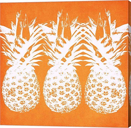 Orange Pineapples by Linda Woods Canvas Art Wall Picture, Gallery Wrap, 24 x 24 inches    Orange wall art is a vivid, playful and fun way to decorate  your home with.  Combine orange wall art  with orange home décor accents to create a warm and inviting space.  Orange wall art creates a bold impression  that friends and family will remember.   In fact people who live in an orange home décor theme tend to be more  adventurous, curious and extroverted.