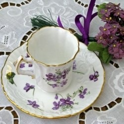 In my shop, Cottage Violets, the English violet grows and thrives. I have decided to add a whole shop page for floral violet patterned china....