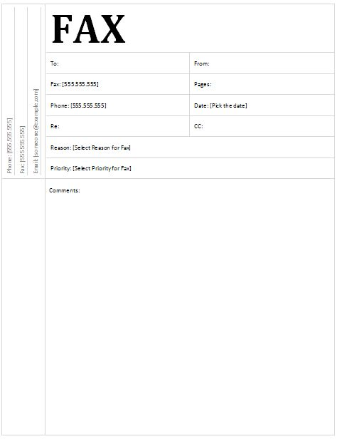 fax form templates