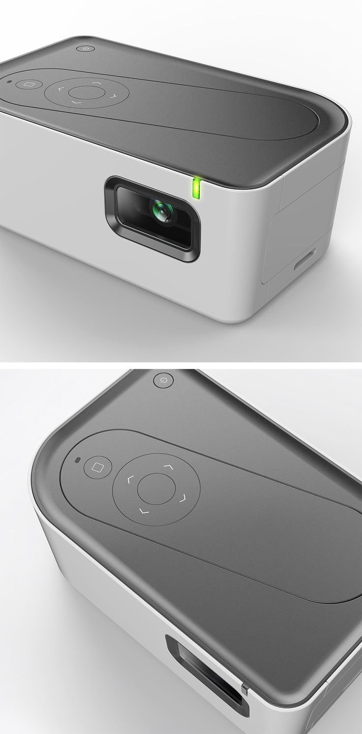 Beam, portable projector with a concealed remote controller - dock