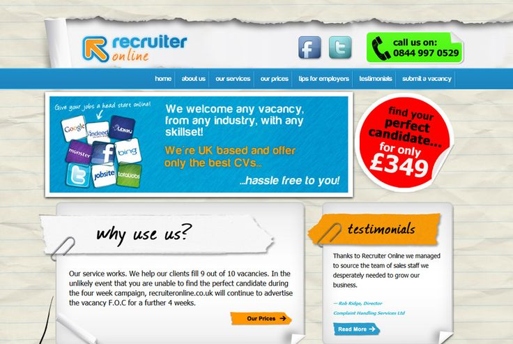 Recruiter Online - A company which aims to cut down the cost of recruiting. http://recruiteronline.co.uk #design #development