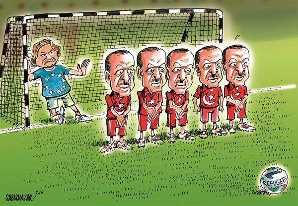 Sabir Nazar - Cagle.com - European Union and Turkey deal to return migrants - English - Syrian refugees, migrants,European Union, Turkey, Erdogan, Greece,Migrant crisis, Deal, Syria, ISIS,