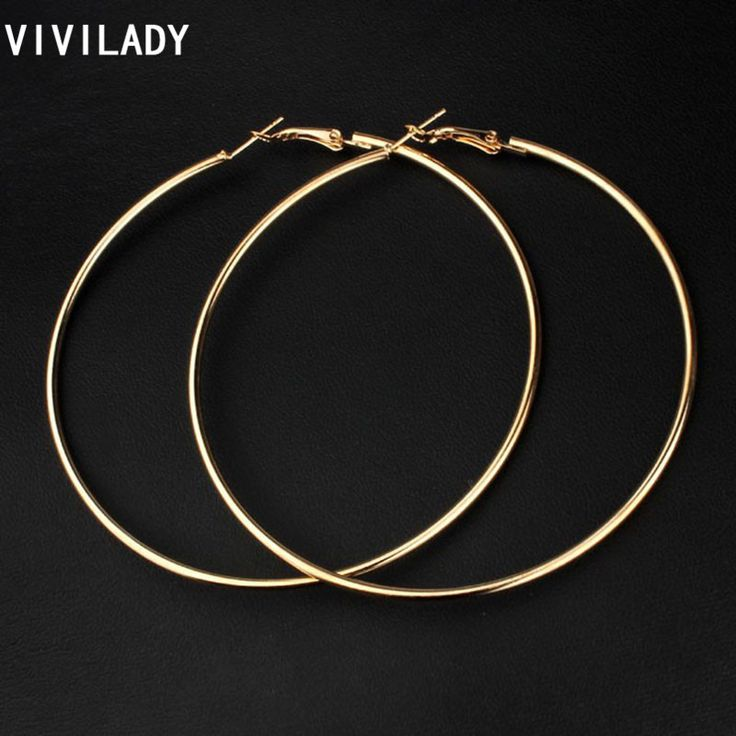 VIVILADY Hot New 8cm Big Hoop Earrings Women Mother Gold Plated Fashion Jewelry Bijoux Accessory Birthday Brincos De Gota Gifts