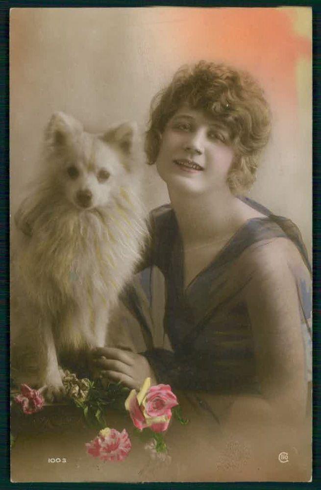 Pretty Deco Lady Spitz Pomeranian Dog original vintage old 1920s photo postcard
