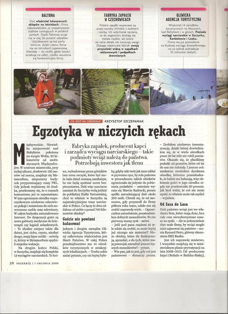 Ministerstwo Skarbu - autor i redaktor dodatku o prywatyzacji (Przekrój)