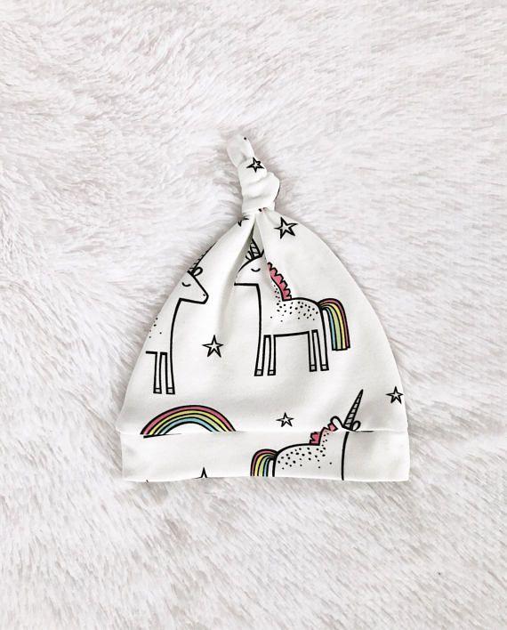 Unicorn Newborn Hat/Organic Cotton Baby Top Knot Hat/Baby