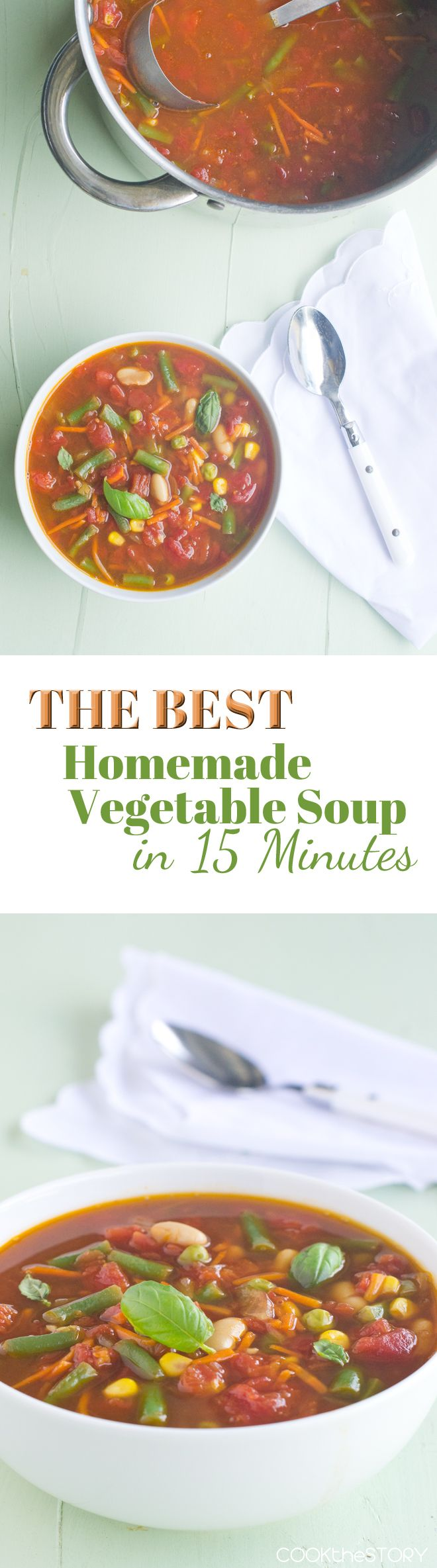 Easy, Homemade Vegetable Soup Recipe, made in just 15 Minutes - on COOKtheSTORY.com