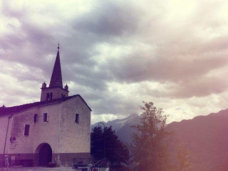 Italy, Valle d'Aosta, Saint Nicolas. An old little churche for a sweet little one-horse town