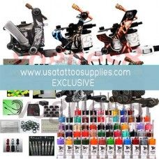 5 Machine Tattoo Kits for Sale! This is the perfect tattoo kit to start with! Not only do you get 5 Tattoo machines! Thats 5 machines for lining and shading. Start your own shop.