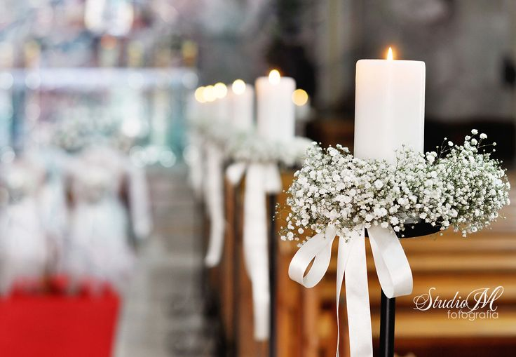 #church #churchdecorations #wedding #candles #lilyonthevalley #whitebow #ribbon #white