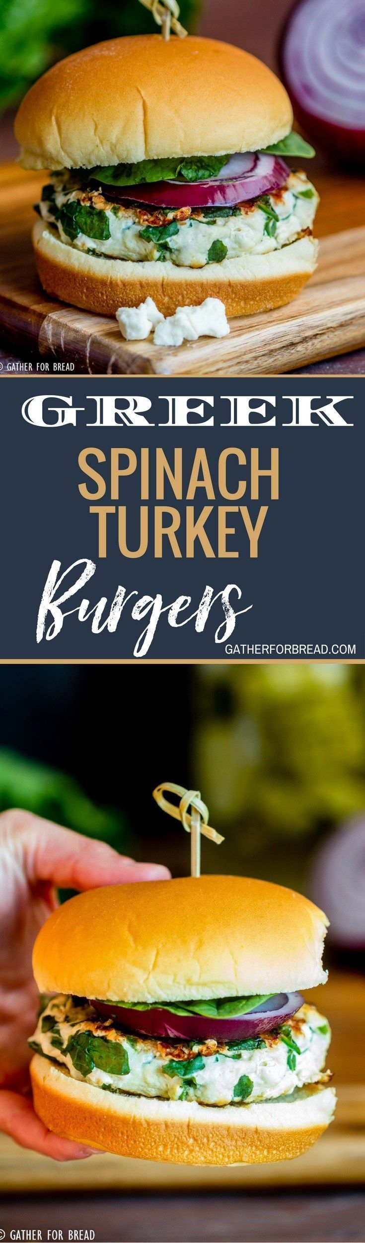 Greek Spinach Turkey Burgers – Turkey burger recipe with fresh spinach and feta cheese for a Greek style burger. Delicious, healthy and perfect for grilling in summer.