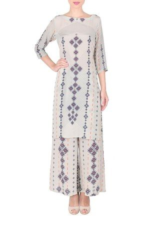 White And Blue Geometric Kurta With Palazzo pants #crepe #printed #party #evening #A-line #3/4th sleeves #boat-neck