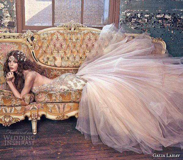 galia lahav spring 2016 bridal dresses sheer strap jeweled bodice tulle skirt blush mermaid wedding dress jewel side view
