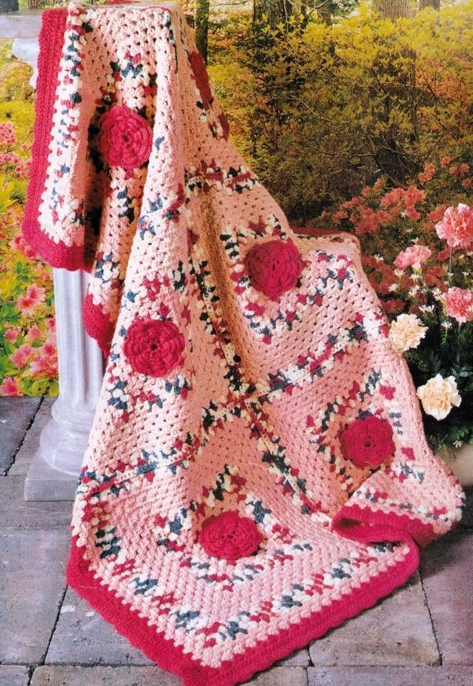VINTAGE APPALACHIAN ROSE AFGHAN ROUND RUG SIZE100 X 145 CM 4PLY CROCHET PATTERN