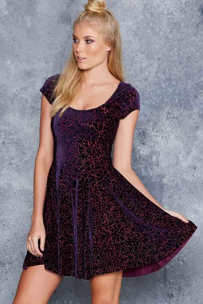 Burned Velvet Royal Sparkle Evil Cheerleader Dress - LIMITED ($120AUD) by BlackMilk Clothing