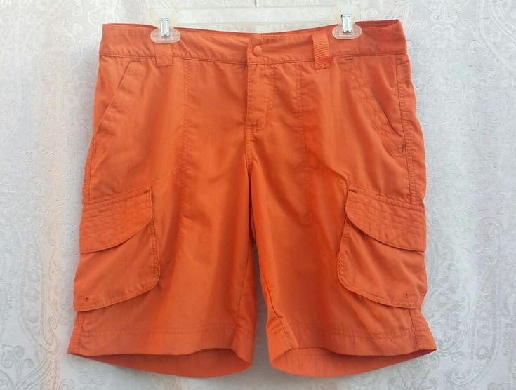 Columbia Sportswear Company Womans Orange Walking Nylon Shorts Size 12 Camping #Columbia #cargowalkingbermuda #Summer