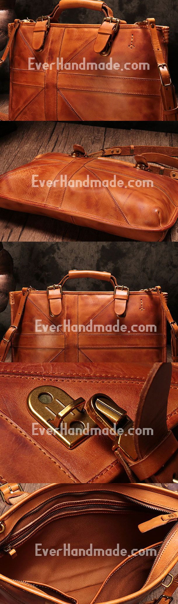 Genuine Leather Mens Briefcase Messenger Bag iPad Bag Chest Bag Bike