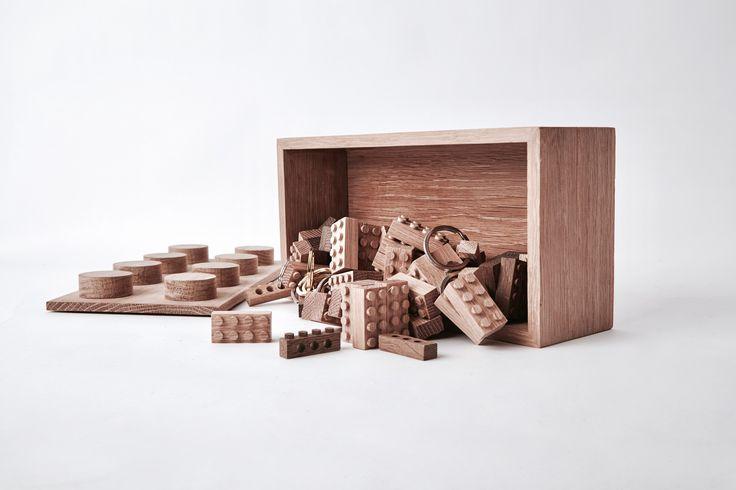 Brick Box made of solid oak.