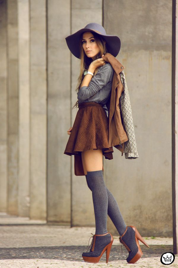 knee highs, skirt, blouse, hat