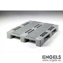 Kunststof Euro H3 pallet 1200x1000x160 mm, GS1 keur, 3 sleden, grijs
