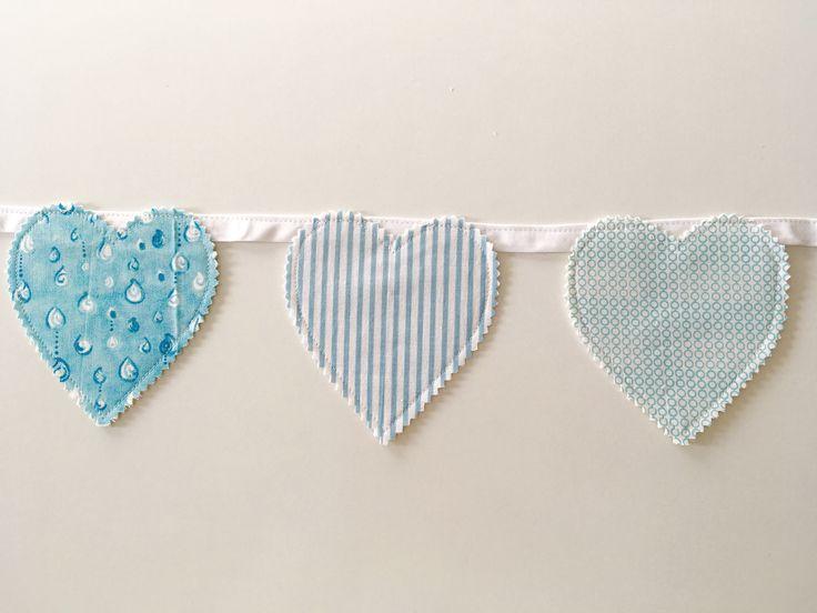 Blue love hearts Blue nursery decor Heart garland Bunting