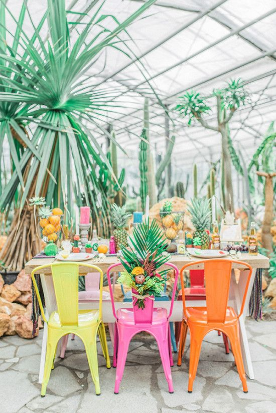 This colorful, tropical wedding reception is a brilliant idea.