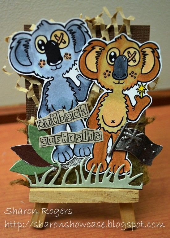 Angie Delarie Scrapbooking, http://sharonshowcase.blogspot.com, Koala, Australia, Australiana, ATC, Die Cuts