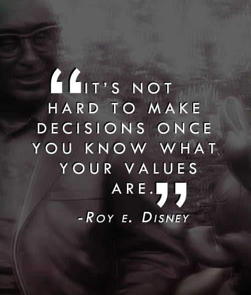 """""""It's not hard to make decisions once you know what your values are."""" -Roy E. Disney"""