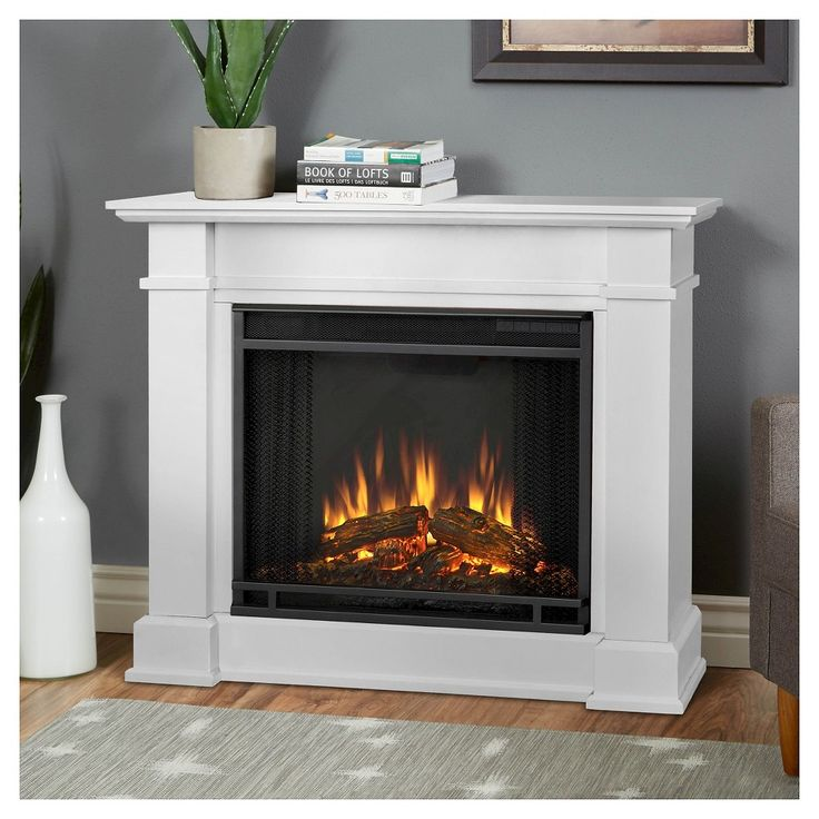 Real Flame - Devin Electric Fireplace-White, White