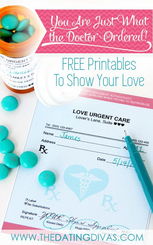 Free printables to show your love...just what the doctor ordered.