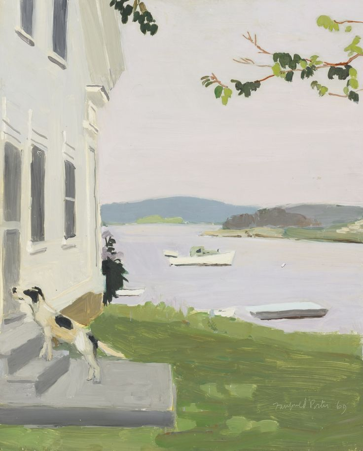 fairfield porter(1907-75), the dog at the door, 1969. oil on masonite, 55.9 x 45.7 cm. sotheby's