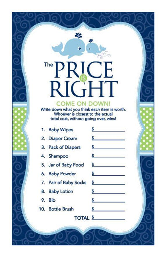 Instant Download Whale Price Is Right Game, Blue Green Whale Baby Shower Games, Printable Nautical T ,  Etsy