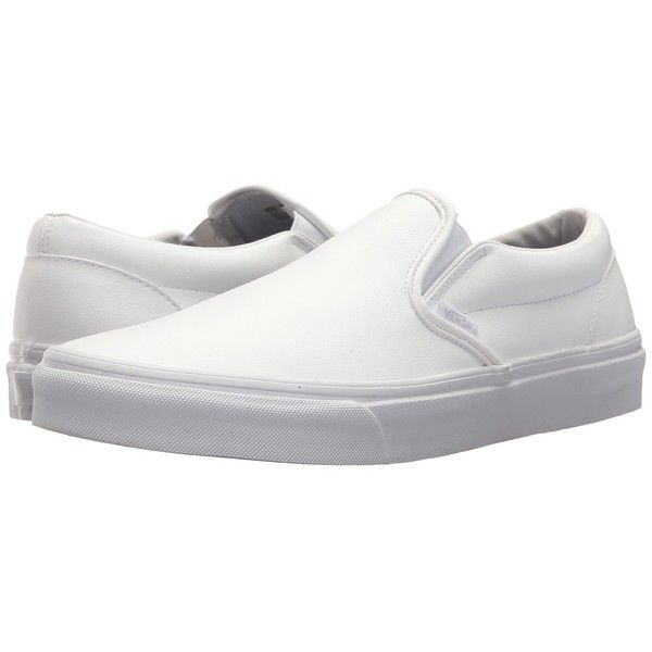 Vans Classic Slip-Ontm ((Classic Tumble) True White) Skate Shoes ($60) ❤ liked on Polyvore featuring shoes, sneakers, white boat shoes, vans shoes, leather boat shoes, slip on sneakers and leather sneakers
