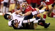 The immediate futures of the Chicago Bears and San Francisco 49ers were in the hands of backup quarterbacks after Jay Cutler and then Alex Smith were ruled out of Monday Night's pivotal NFC battle at Candlestick Park because of concussions. I sure couldn't imagine at halftime that the Bears would be down 20-0.