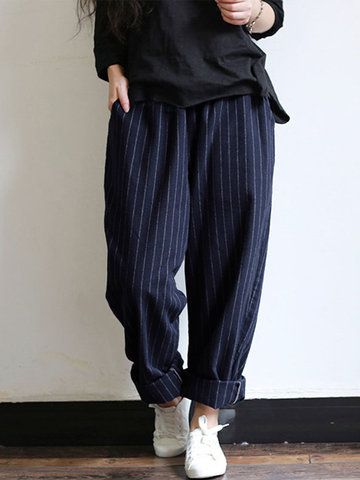 da13989b757 Vintage Stripes Pockets Elastic Waist Loose Pants