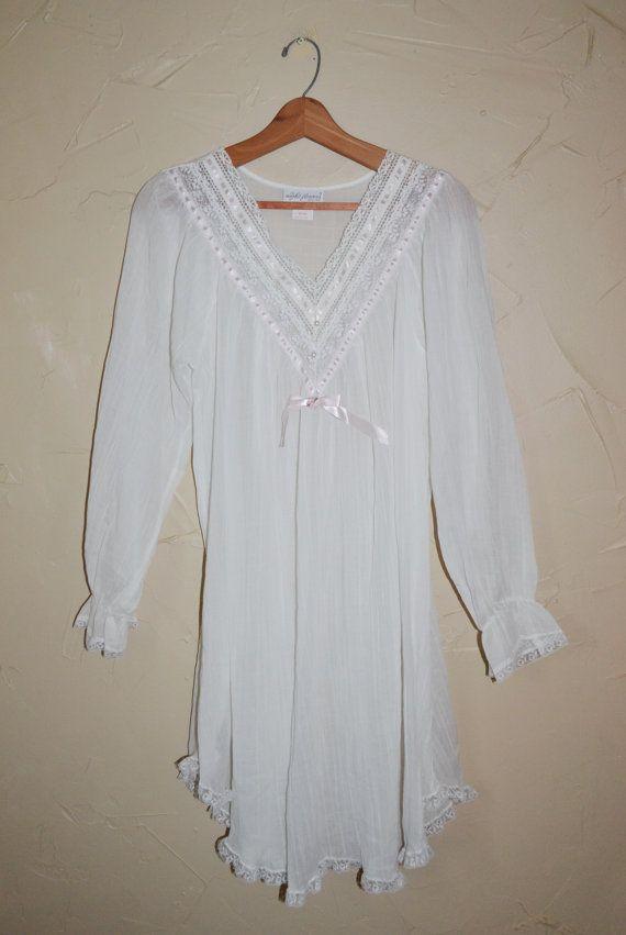 Sheer White Night Gown White Gauze Night Gown Boho Night ...