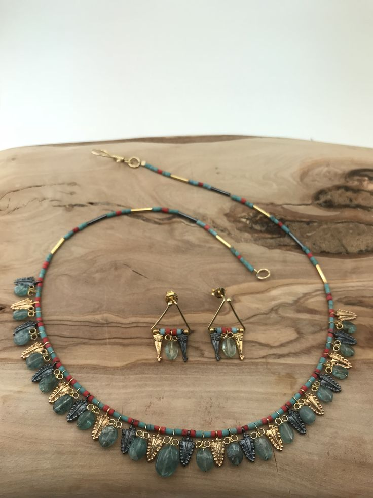 Necklace and Earrings  silver&goldplated with aquamarine stones