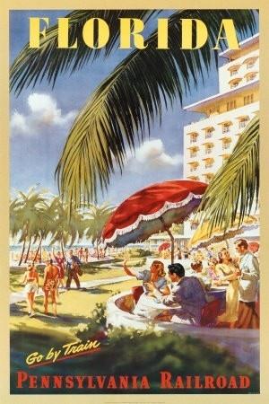 Florida: Vintage Posters, Pennsylvania Railroad, Art Prints, Place, Vintage Travel Posters, Trains, Vintage Florida