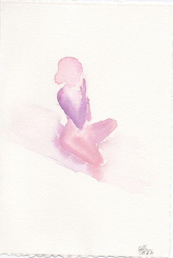 Awesome!! Pink/purple Yoga Lotus pose watercolour painting-