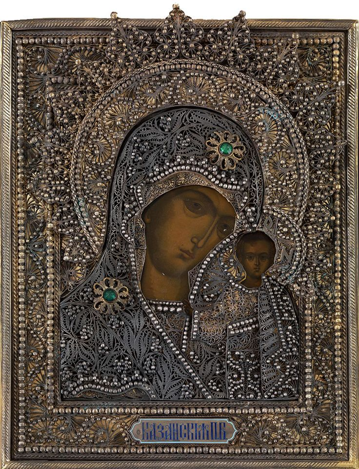 MOTHER OF GOD OF KAZAN IN A SILVER filigree & pearl OKLAD.  LAST THIRD OF THE 19TH CENTURY, OLD BELIEVERS' WORKSHOP, MAKER'S MARK OF IVAN KHLEBNIKOV IN CYRILLIC, AFTER 1908