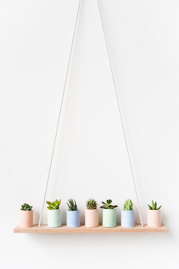 Pastel mini planters on simple DIY shelf | easy tutorial | crafts for home decor