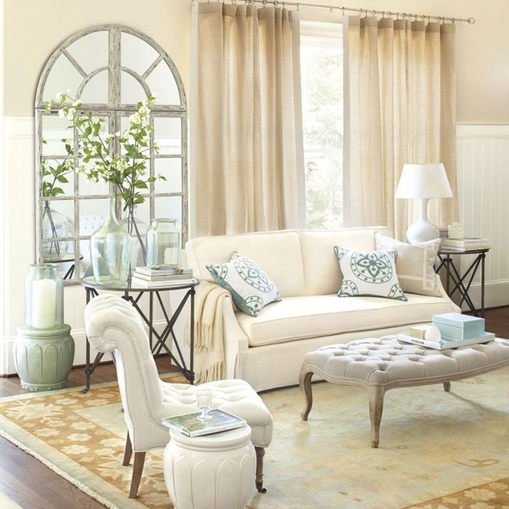 Neutral living room from ballard designs coffee table end tables