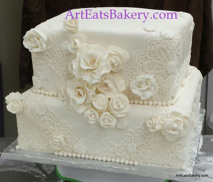 square wedding cake with fondant flowers 31 best images about edible lace for wedding and birthday 20437