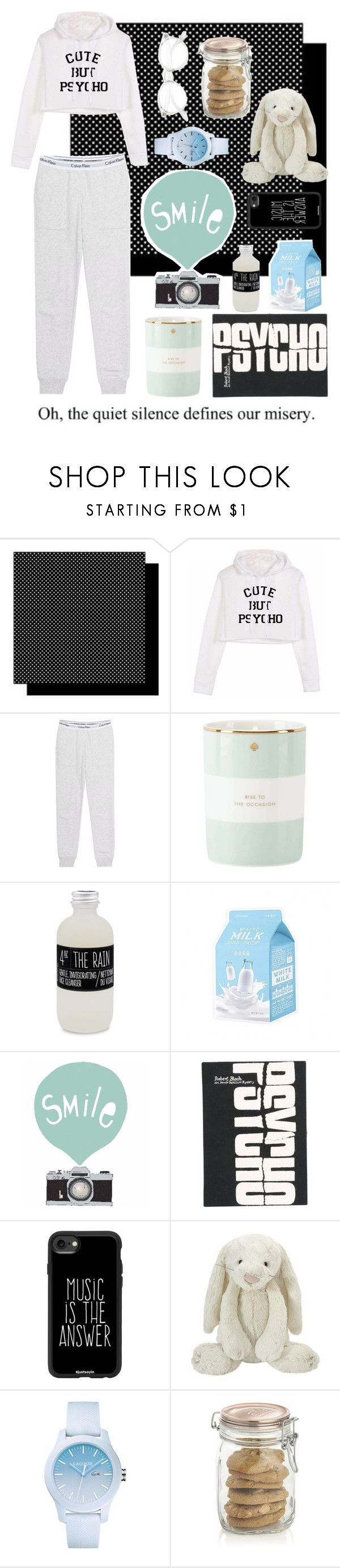 """Cute But Psycho"" by beautyguru-secrets on Polyvore featuring Calvin Klein Jeans, Kate Spade, Belmondo, Seventy Tree, Olympia Le-Tan, Casetify, Laura Ashley, Lacoste and Crate and Barrel"