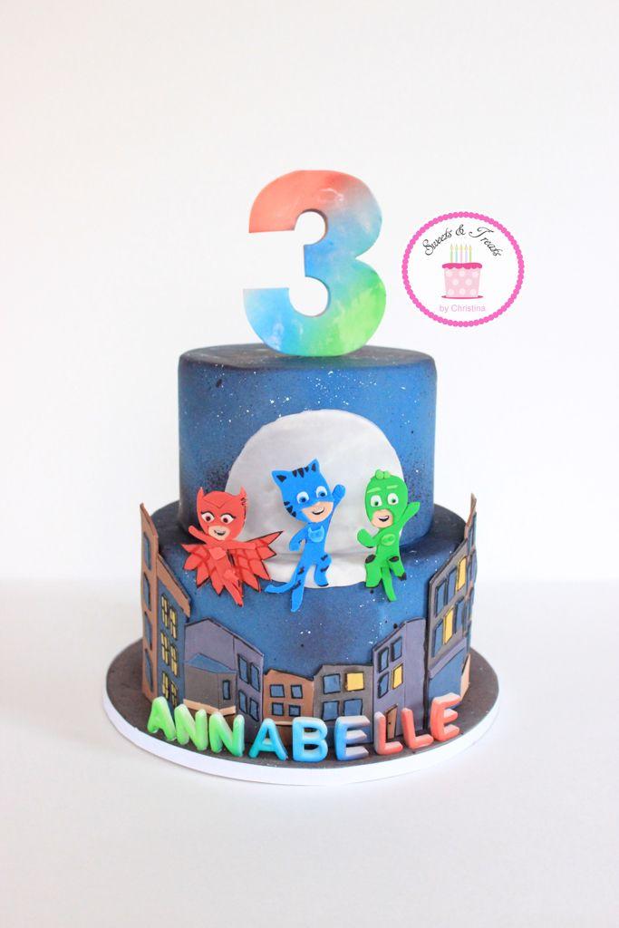PJ Masks cake www.facebook.com/SweetsAndTreatsByChristina