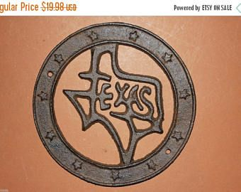 "Check out 13% OFF 1) Texas state wall plaque, State of Texas wall plaque, rustic Texas decor,Texas home,6"",cast iron Texas decor, free shipping, W-23 on wepeddlemetal"
